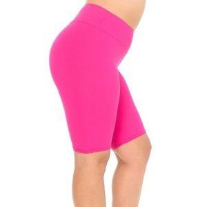 Fuchsia Basic Solid Plus Size Shorts - 3 Inch